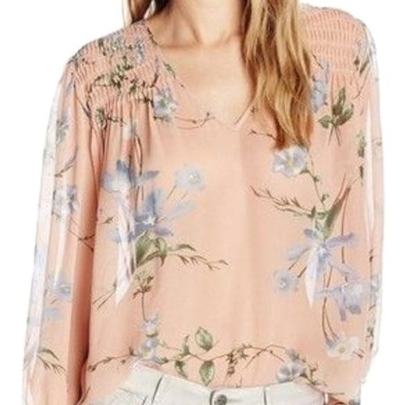Joie Kanni 100% Silk Smocked Floral Print Blouse